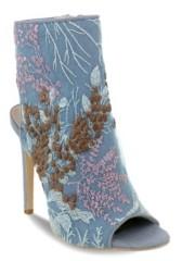 OLIVIA MILLER Harbour Denim Embroidered Peep Toe Heel Sandals Women's Shoes