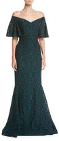 Rickie Freeman For Teri Jon Off-the-Shoulder 1/2-Sleeve Lace Mermaid Gown