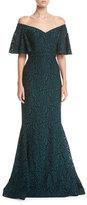 Rickie Freeman For Teri Jon Off-the-Shoulder 1/2-Sleeve Lace Mermaid Gown
