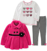 Kids Headquarters 3-Pc. Faux-Fur Jacket, Printed T-Shirt and Houndstooth Leggings Set, Baby Girls (0-24 months)
