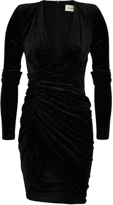 Alexandre Vauthier Black glittered stretch-velvet mini dress