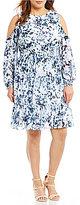 Eliza J Plus Long-Sleeve Cold Shoulder Printed Dress