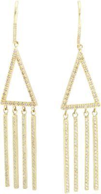 Jennifer Meyer Diamond Open Triangle Long Fringe Earrings