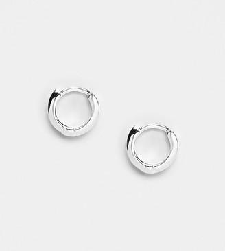 Asos Design DESIGN sterling silver huggie hinged hoop earrings