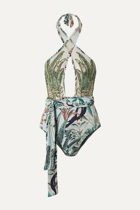 PatBO Eden Belted Embellished Tulle-paneled Halterneck Swimsuit - Green