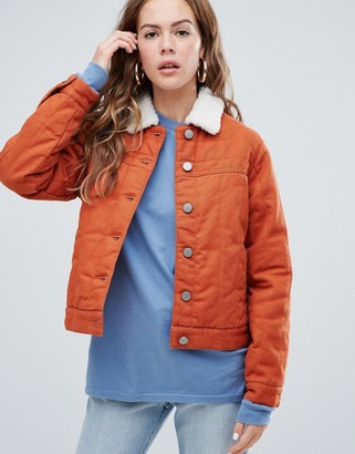 Asos Design DESIGN cropped denim wadded jacket in rust-Brown