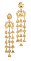 Oscar de la Renta Charm Clip On Chandelier Earrings