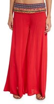 OndadeMar Hand-Embroidered Wide-Leg Coverup Pants, Red