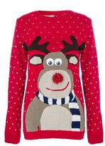 Quiz Red Knit Reindeer Jumper