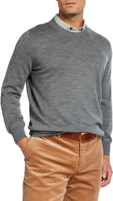 Brunello Cucinelli Men's Cashmere-Blend Crewneck Sweater