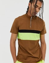 BEIGE Asos Design ASOS DESIGN t-shirt with turtle zip neck and contrast neon panel in