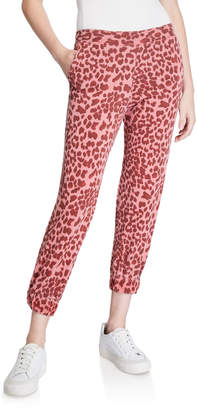 Sundry Leopard-Print Cropped Sweatpants w/ Ruched Cuff