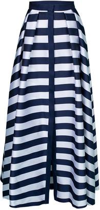 Maison Rabih Kayrouz Navy Striped Full Length Skirt