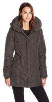 Steve Madden Women's Chevron Packable Puffer Jacket with Hood