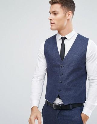 Selected Slim Waistcoat In Italian Wool Mix-Blue