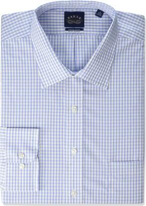 Eagle Men's Non Iron Stretch Collar Big Check Spread Collar Dress Shirt