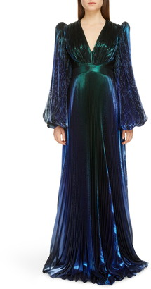 Givenchy Pleated Long Sleeve Degrade Lame Gown