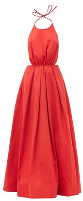 STAUD Georgia Halterneck Cotton-blend Poplin Maxi Dress - Red