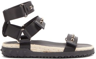 Valentino Rockstud Canvas And Jute Sandals - Black
