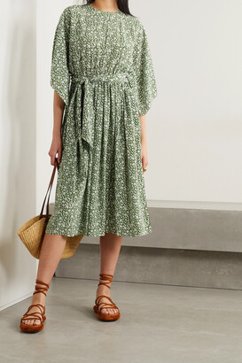MICHAEL KORS COLLECTION - Belted Floral-print Silk Crepe De Chine Midi Dress - Green