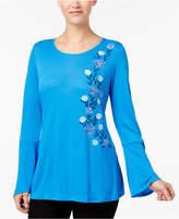 NY Collection Bell-Sleeve Embroidered Top