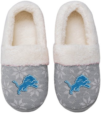 Women's Detroit Lions Ugly Knit Moccasin Slippers