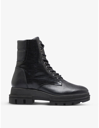Dune Pranca textured leather lace-up ankle boots