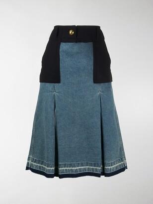 Sacai Box-Pleat Denim Panelled Skirt