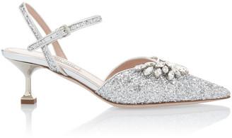 Miu Miu Embellished Glitter Kitten Heels