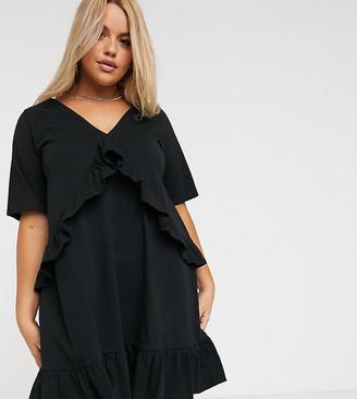 Asos DESIGN Curve v front frill seam smock dress in black