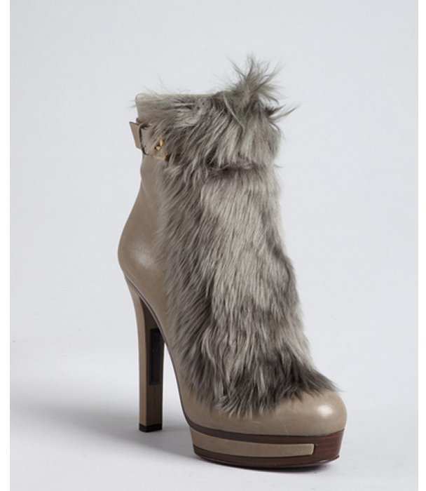 Gucci grey leather and alpaca fur 'Alyona' high heel ankle boots