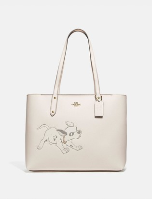 Coach Disney X Central Tote With Zip With Dalmatian Motif