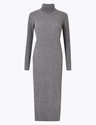Marks and Spencer Pure Cashmere Ribbed Knitted Dress