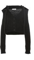 Adeam Black Chunky Off-The-Shoulder Cardigan