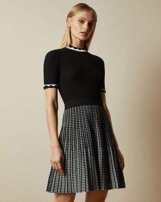 Ted Baker Short Sleeved Knitted Skater Dress