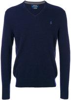 Polo Ralph Lauren logo embroidery V-neck jumper - men - Merino - S