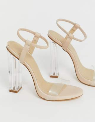 Truffle Collection clear heeled sandals-Beige