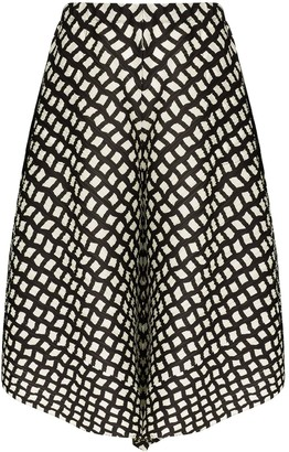 Pleats Please Issey Miyake Printed Flared Shorts
