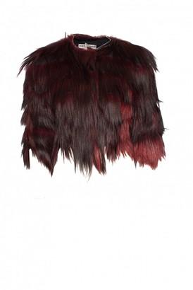 Dolce & Gabbana Burgundy Fur Jacket for Women