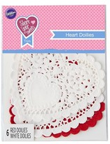 Wilton 1 2ct Heart Doilies -Red and White