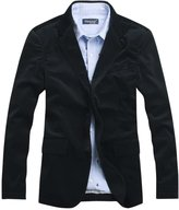 Chouyatou Men's Corduroy Slim Fit Two-Button Blazer with Elbow Patches
