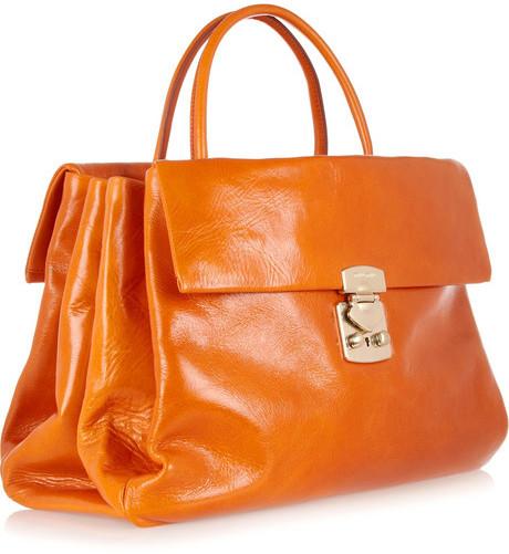 Miu Miu Cracked-leather tote