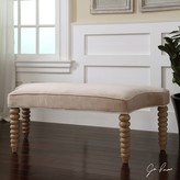 The Well Appointed House Beige Velvet Bench with Stacked Sphere Legs