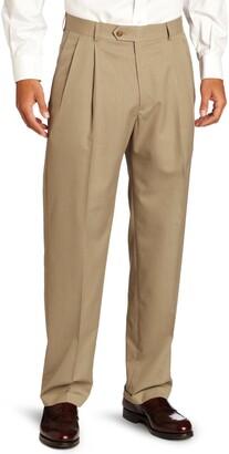 Haggar Men's Herringbone Stripe Double Pleat Front Relaxed Fit Suit Separate Pant