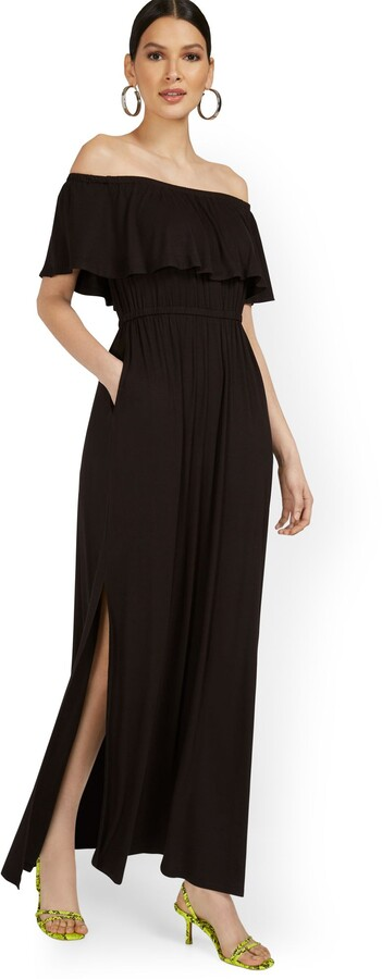 New York & Co. Off-The-Shoulder Ruffle Maxi Dress
