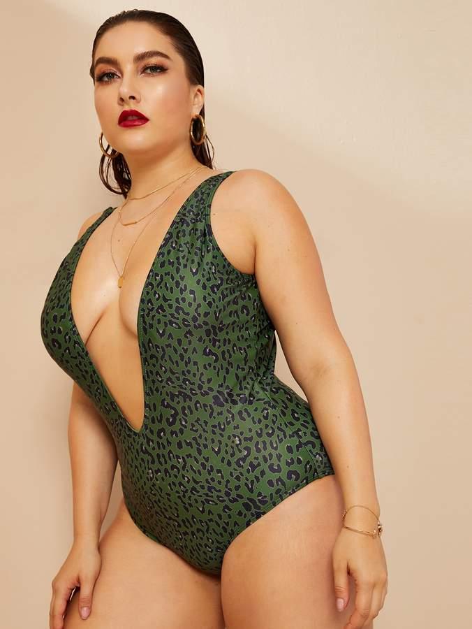 32848c97dfbf Shein Green Plus Size Swimsuits - ShopStyle