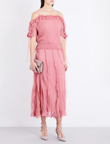 Valentino Ruffled cold-shoulder knitted dress
