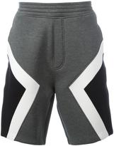 Neil Barrett geometric panel track shorts - men - Cotton/Polyurethane/Spandex/Elastane/Viscose - M