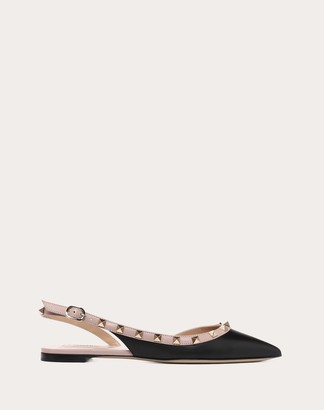 Valentino Rockstud Calfskin Leather Slingback Ballet Flat Women Poudre Calfskin 100% 41.5