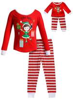 "Dollie & Me Girls 4-14 Elfie Selfie"" Elf Striped Top & Bottoms Pajama Set"